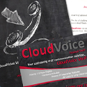 CloudVoice marketing materials and postcard